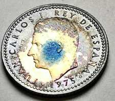 1975 SPANISH COIN 1 UNA PESETA BU UNC NICELY COLOR TONED ON BOTH SIDES