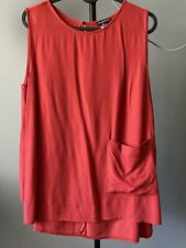 Warehouse Size 12 Red Sleeveless Top Pocket Detail