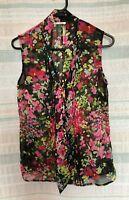 Womens  Jane Lamerton Floral Sleeveless Top Size 10, Sheer, Polyester