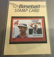 JULIO FRANCO RARE U.S. BASEBALL 30 CENT STAMP CARD CLEVELAND INDIANS