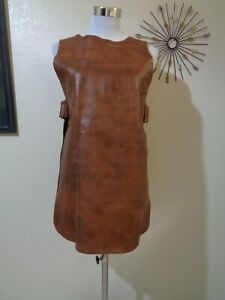 VINTAGE MOD/HIPPIE BROWN LEATHER BUCKLE CINCH TAB SIDES OPEN TUNIC SZ S/M