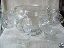 Heavy Clear Glass Punch Bowl With 8 Cups Lovely Pattern Design
