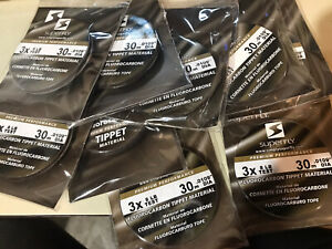 Lot Of 9 New Superfly 3x 8 LB Test 30m .0109mm DIA Fluorocarbon Tippet Material