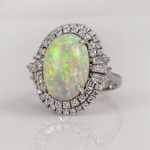 925 Silver Rings Unique Oval Cut White Fire Opal Rings Wedding Jewelry Size 6-10