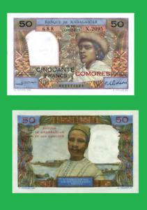 Comoros comores 50 francs 1960 UNC - Reproduction