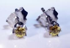Real Yellow Sapphire Small Round Stud Earrings Sterling Silver 3mm