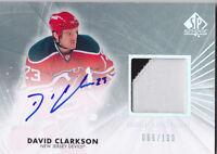 11-12 SP Authentic David Clarkson /100 Auto Patch Limited Devils 2011