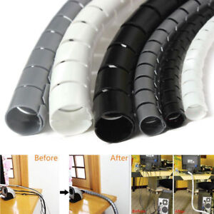 2M Spiral Cable Wrap Tidy Cord Wire Lead Management Storage Organizer Clip Kits