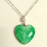Sterling silver Love Heart(30mm) Certified Natural A Green Jade pendant necklace
