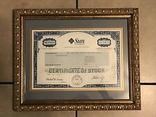 Sun Microsystems Stock Certificate with Custom Framing 16W x 14L