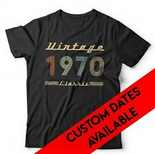 Vintage Classic Year Tshirt Unisex - Custom Dates Available - Birthday