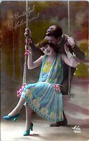Pretty Young Dutch Flapper Girl Woman on Swing RPPC 1920 Tinted Postcard JN