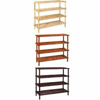 4 Tier Shoe Rack Stand Natural Walnut Oak Storage Unit Shelf By Home Discount