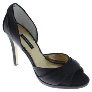 New CAPARROS Women D'Orsay Black Silk High Heel Pump Sandal Dress Shoe Sz 9.5 M