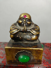 Chinese Collectibles Brass Seal Figure Home Decorations Monk Statue AP125