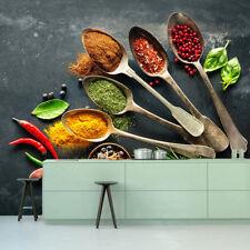 Foods Drinks Spice Herbs Fruits Spoon Kitchen Restaurant Wallpaper Murals Photo