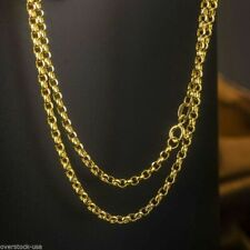 "20"" 18K Solid Yellow Gold Necklace 2mm ROLO Link Chain Necklace Stamped Au750"