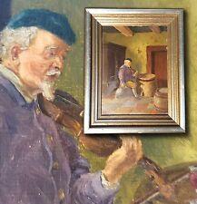Geige jugar el Bodega de vinos. Emebellecedor antiguo Pintura al óleo firmado