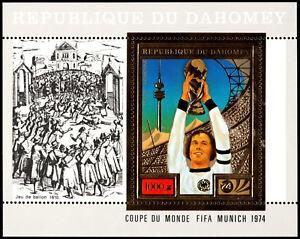 ✔️ DAHOMEY 1974 - SPORTS SOCCER 1974 GOLD S/S - MI. BL. 55A ** MNH OG [301DH10]