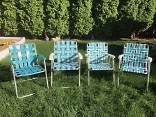 Set of 4 Vintage Webbed Aluminum Folding Lawn Chairs Blue Ok Condition