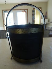 Nice Heavy Black Metal Ash Bucket in Stand with Handle Brass? Gold w/ detail