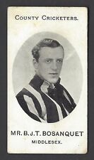 TADDY - COUNTY CRICKETERS - MR B J T BOSANQUET, MIDDLESEX