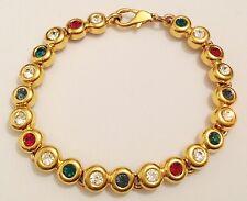 bracelet bijou vintage couleur or solitaire cristaux diamant rubis ect... 387