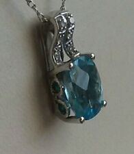 10k White Gold -Diamonds- Blue Topaz-Emeralds- Drop Pendant Necklace 18""