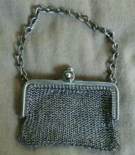 """Vintage Chain Mail Metal Alloy Mesh Coin Purse With Chain and Clasp 3"""""""