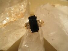 14K Gold, Modern Art Deco Rectagular Onyx Diamond Ring Size 7.25