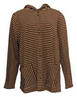 Isaac Mizrahi Live! Women's Plus Sz Top 1X Terry Striped Button Brown A385529