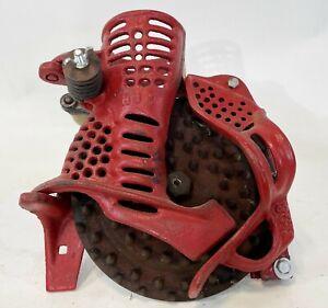 Vintage Primitive HS Hand Handle Crank Red Cast Iron Corn Shucker Husker Tool