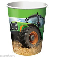 John Deere Inspired Tractor Time Paper Drink Cup Birthday Party Supplies