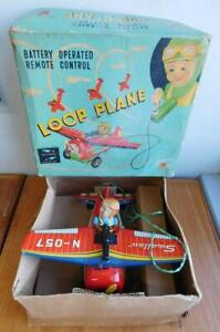 Japan 1950s Litho Printed Tin Toy Battery Operated LOOP PLANE In Box Airplane