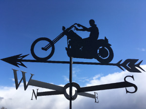 MOTORCYCLE RIDER Metal Plasmacut Wind Direction Roof Decor