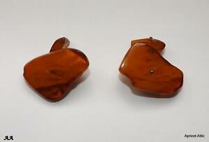 Pair of Vintage Natural Baltic Amber Cufflinks 7.1 gms Large