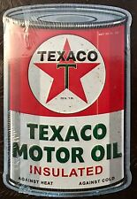 Texaco Motor Oil Can Shaped Metal 3-D Embossed Advertising Sign 8