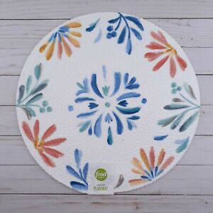 Braided Placemat Centerpiece Floral Burst Flowers 15 Inch Round