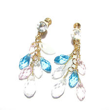 Clip On Blush Pink Blue Gold Bead Drop Earrings Chandelier Dangle Boho Vtg 1143
