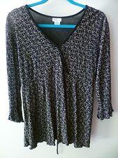 MIMI Maternity Waist Tie Shirring Detail 3/4 sleeve Boho Hippie Blouse Size L