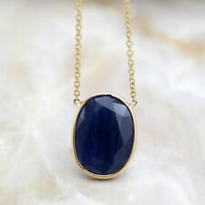 Natural Oval Blue Sapphire 18kt Yellow Gold Pendant Minimalist Necklace