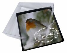 4x Little Robin Red Breast Picture Table Coasters Set in Gift Box, Robin-1C