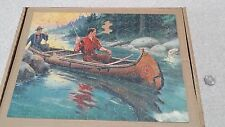 "VTG 1940's Perfect Picture Puzzles JigSaw Interlocking ""Good Luck"" fishing canoe"