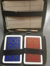 vintage twin deck art deco gold on red/blue playing cards by F X SCHMID jokers
