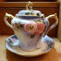 Nippon Handpainted Sugar Bowl With Saucer Pink Flowers Double Gold Handles