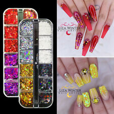 12 grids/pc Nail Art Colorful Flakes Holographics Nail Sequins Decoration  Fire