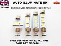 Car Festoon 31-42mm Led Smd c5w sv8.5 Lamp Light Bulbs Interior Hid White 12v UK