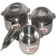 OMEX SET OF 3 STAINLESS STEEL HOT POTS 1000/2000/&3000ML CASSEROLE POTS.