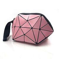 丿Luminous Womens Handbag Makeup Bag Lattice Design Geometric Bag Unique Purses