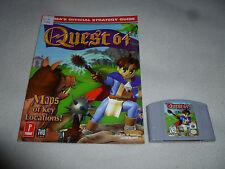 NINTENDO N64 VIDEO GAME QUEST 64 CARTRIDGE & PRIMAS STRATEGY GUIDE LOT SET RPG >